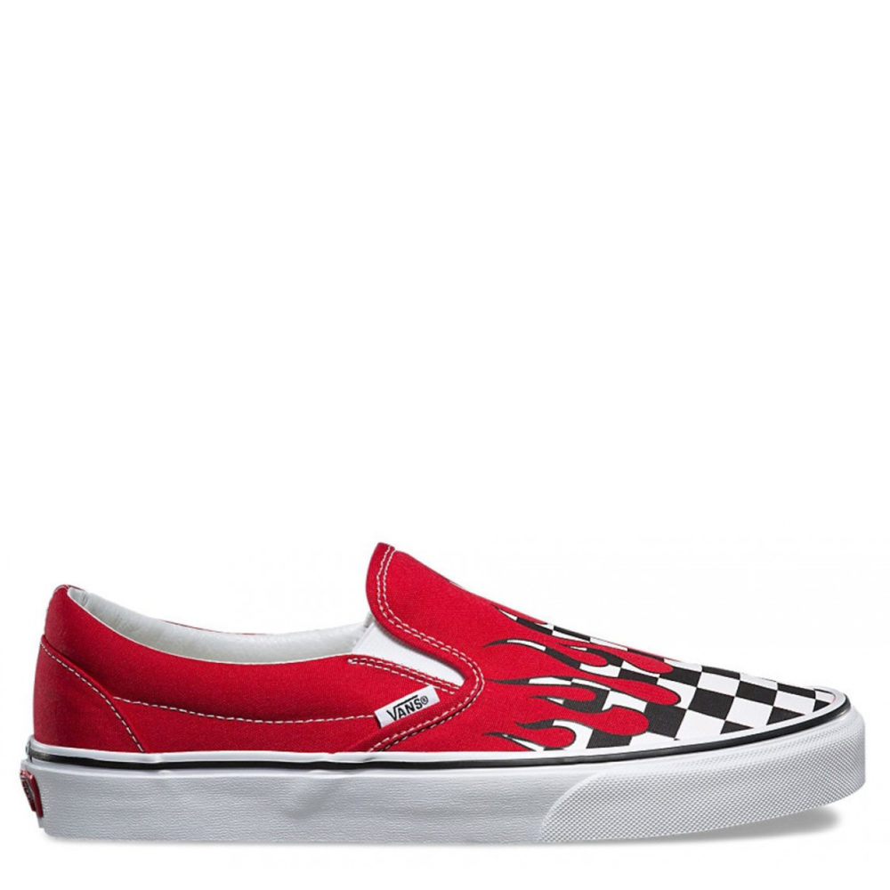 7c5a5913ffb1f2 Vans Men s Checker Flame Classic Slip-On Shoes Red   White - Cool Js ...