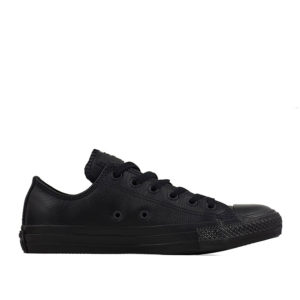 converse-all-star-leather-lowtop-black-mono-side view